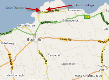 Map Of Ireland Giants Causeway.Giants Causeway Bushmills Northern Ireland Aird Cottage